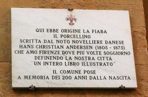 plaque at mercato nuovo for Hans Christian Anderson story of the Bronze Hog