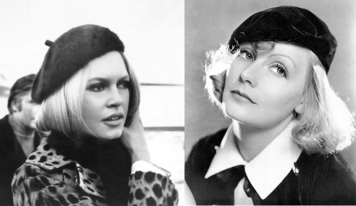 Brigitte Bardot and Greta Garbo in berets