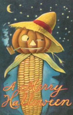 jack o lantern on corn