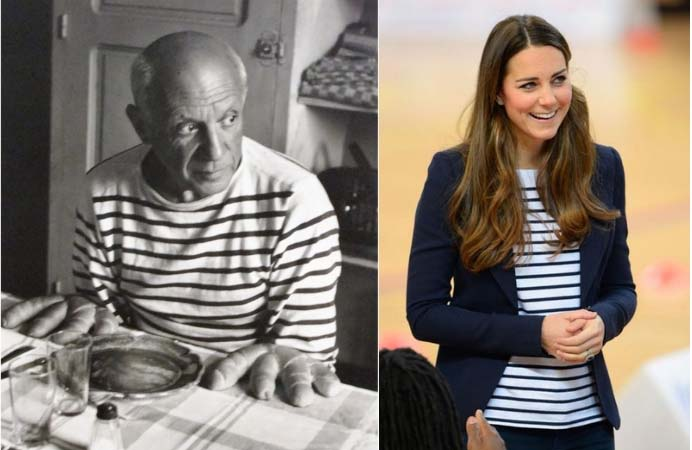 Picasso and Kate in stripes